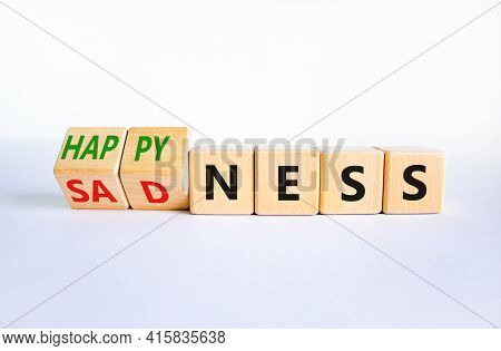 Happyness Or Sadness Symbol. Turned Cubes And Changed The Word 'sadness' To 'happyness'. Beautiful W