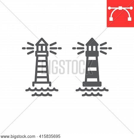 Lighthouse Line And Glyph Icon, Sea And Ocean, Lighthouse Vector Icon, Vector Graphics, Editable Str