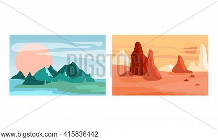 Beautiful Natural Landscapes Set, Serenity Scenes Of Nature At Sunlight, Poster, Card, Banner Design
