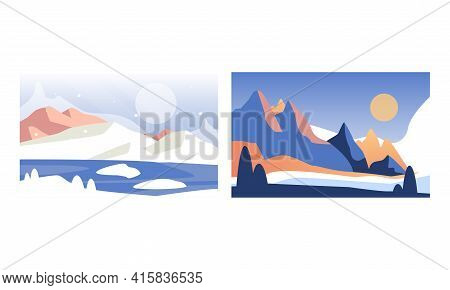 Beautiful Winter Landscape Set, Serenity Scenes Of Nature At Day Time Cartoon Vector Illustration