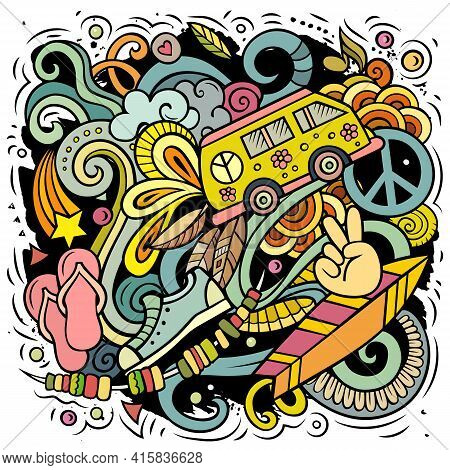 Hippie Hand Drawn Vector Doodles Illustration