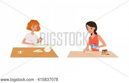 People Cooking In The Kitchen Set, Young Women Kneading Dough, Cooking Porridge Cartoon Vector Illus