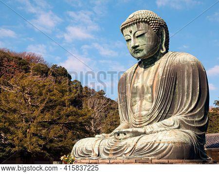 Kamakura, Japan - Dec 20, 2015: Daibutsu Statue At Kotoku-in Temple; Monumental Outdoor Bronze Statu
