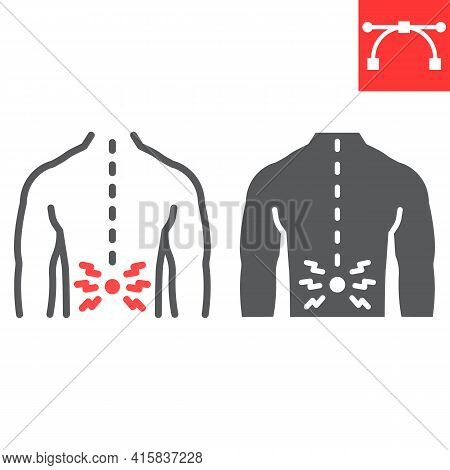 Back Pain Line And Glyph Icon, Spine Pain And Human Back, Backache Vector Icon, Vector Graphics, Edi