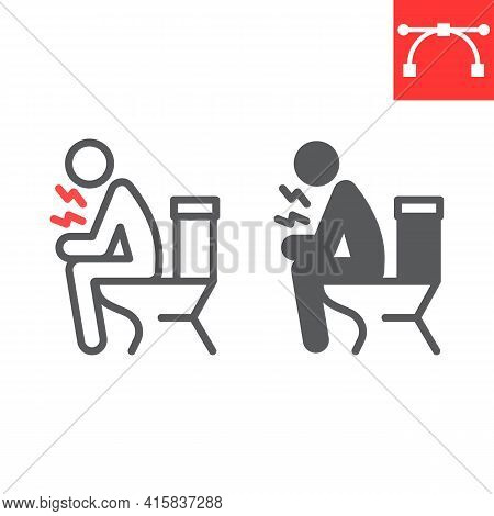 Diarrhea Line And Glyph Icon, Covid-19 And Constipation, Man Sitting On Toilet Vector Icon, Vector G
