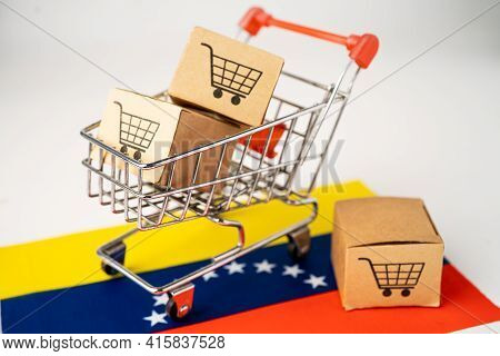 Box With Shopping Cart Logo And Venezuela Flag, Import Export Shopping Online Or Ecommerce Finance D