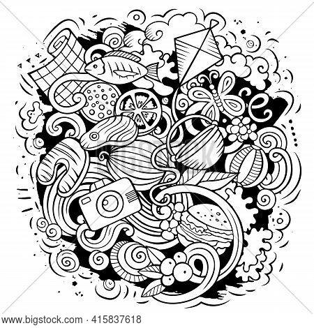 Picnic Cartoon Doodle Illustration. Funny Design.