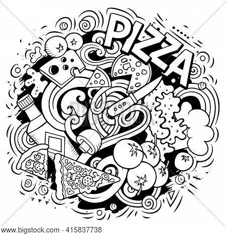 Pizza Cartoon Doodle Illustration. Funny Design.