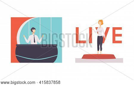 Tv Presenters Set, Man And Woman Newscaster, Anchorman Reporting In Tv Live News Show Cartoon Vector