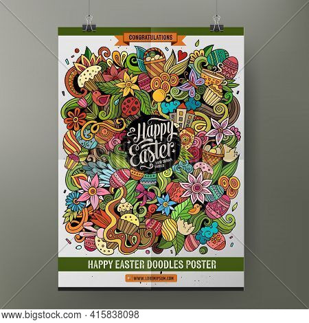 Cartoon Colorful Hand Drawn Doodles Happy Easter Poster Template