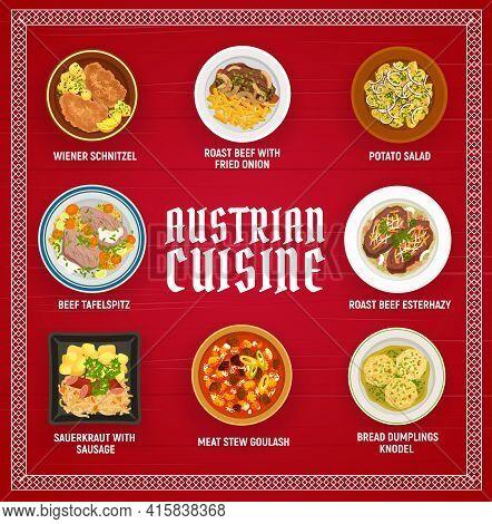 Austrian Food Restaurant Menu Banner. Wiener Schnitzel, Roast Beef Esterhazy And Potato Salad, Beef