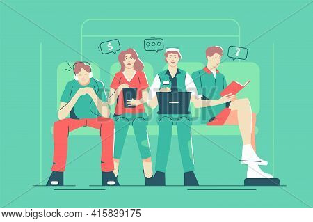 Group Of Strange People In Underground Vector Illustration. People Characters With Laptop And Smartp