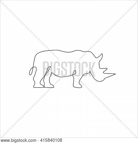 Minimalist One Line Rhinoceros Icon. Line Drawing Animal Tattoo. Rhinoceros One Line Hand Drawing Co