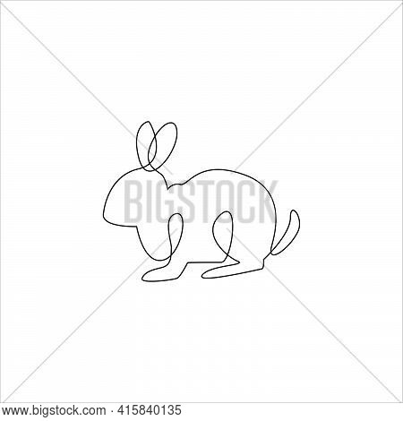 Minimalist  One Line Rabbit Icon. Line Drawing Rabbit Tattoo. Farm Animals One Line Hand Drawing Con