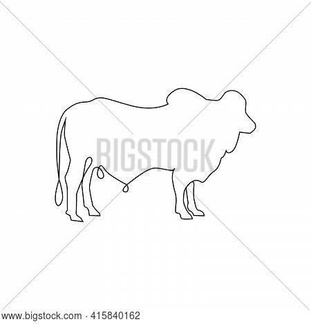 Minimalistic One Line Cattle Ox, Goat Or Bull Icon. Line Drawing Cattle Bull. One Line Hand Drawing