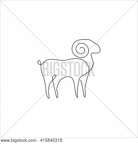Minimalist One Line Male Sheep Icon. Line Drawing Ram Tattoo. Ram Goat Vector Illustration. Free Sin