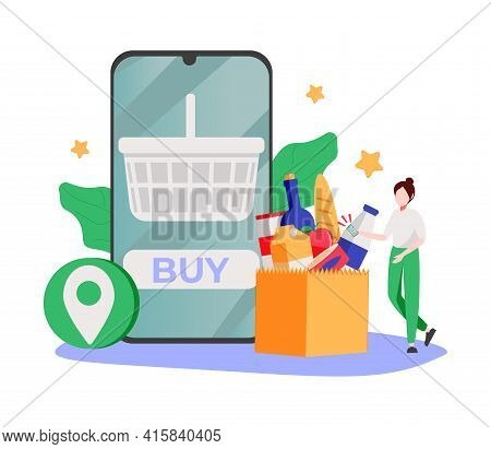 No-contact Order And Delivery Abstract Concept Vector Illustration. Online Order, Digital Gift Card,