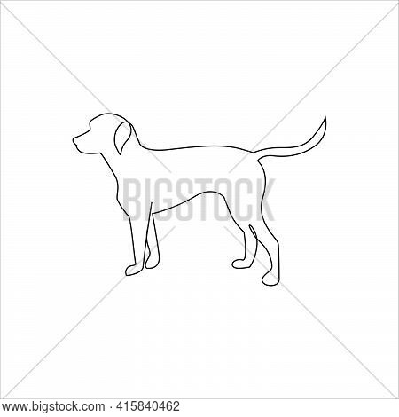 Line Drawing Dog Tattoo. Isolated Vector Illustration. Free Single Line Drawing Of Dog. Outline Draw