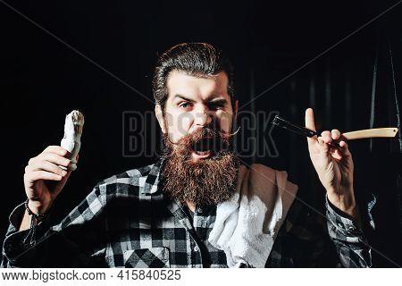Excired Barber. Bearded Man In Barbershop. Barber Scissors And Straight Razor, Barber Shop, Suit. Vi