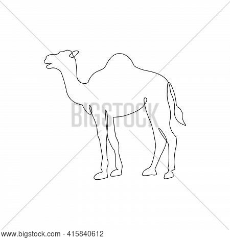 Minimalistic One Line Camel Icon. Line Drawing Animal Tattoo. Arabic Camel One Line Hand Drawing Con