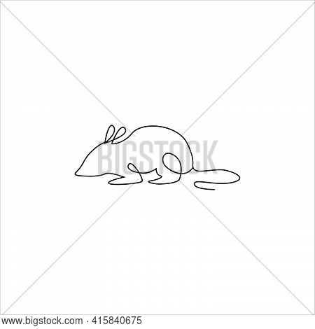 Mouse Line Drawing Tattoo. Mouse Or Rat One Line Hand Drawing Continuous Art Print, Vector Illustrat
