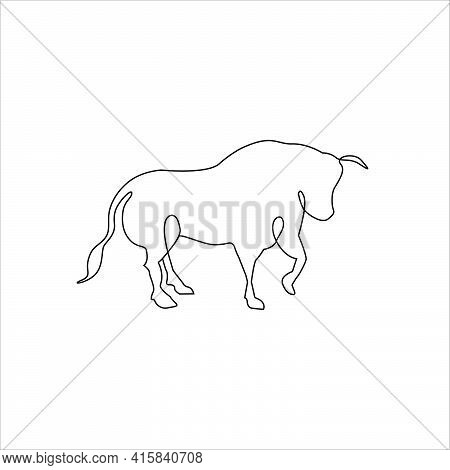 Bull Or Ox Line One Drawing Tattoo.  Bull Or Ox Outline Drawing Continuous Art, Isolated Vector Illu