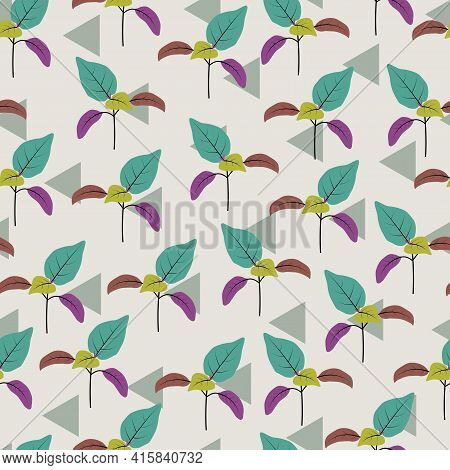 Elegant Trendy Seamless Vector Floral Ditsy Pattern Design Of Tropical Branches Of Leaves. Trendy Fo