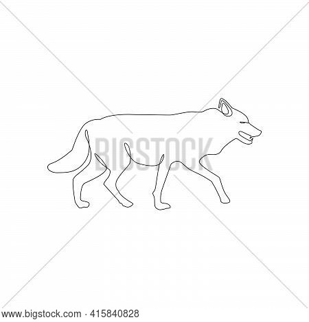 Minimalistic One Line Wolf Icon.  Wolf One Line Hand Drawing Continuous Art, Vector Illustration. Fr