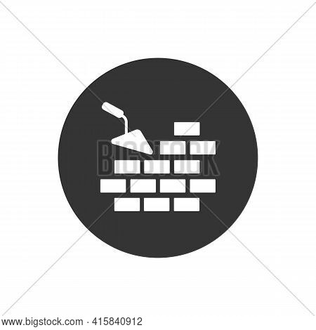 Vector White Icon Brickwork And Building Trowel