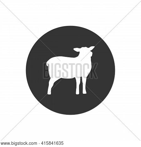 Lamb Silhouette Isolated On White Background. Lamb Or Sheep Icon. Vector Illustration