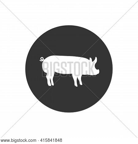 Vector Pig Silhouette. Pig Silhouette Icon Isolated On White Background