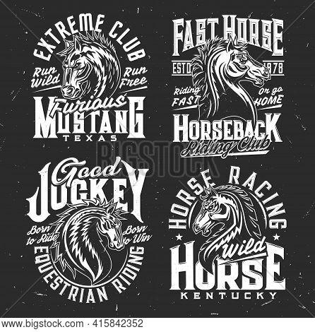 Riding Club, Jockey And Horse Polo, Race T-shirt Prints, Vector. Wild Horse Stallion Or Mustang Symb