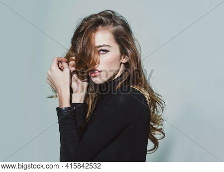 Young Pretty Woman Or Cute Sexy Girl With Long Beautiful Curly Blonde Hair And Red Lips On Adorable