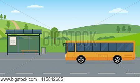 Rural Landscape With Road, Bus Stop And Moving Bus. Concept Of Public Transport. Panoramic View. Fla