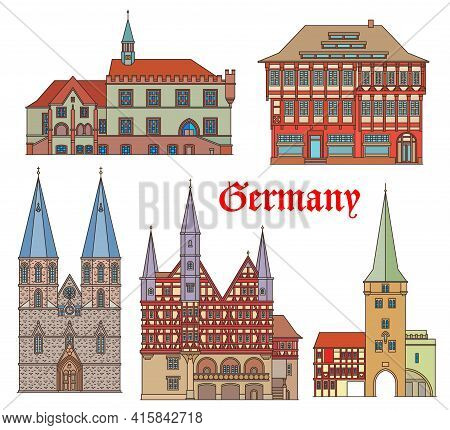 Germany Landmarks Architecture, Buildings And Cathedral, Vector German Fachwerk Houses. St Cyriacus