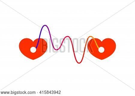 Two Connected Red Hearts. Concept Of Empathy