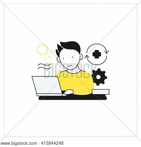 Workaholic Flat Icon. Workaholism Prevention.conduct Rules. Reasonable Time Allocation. Overworking