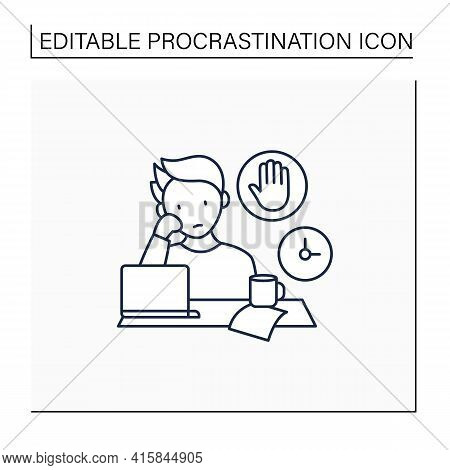 Stop Procrastinating Line Icon.ready To Work. Minimize Distractions. Commit Tasks.procrastination Co