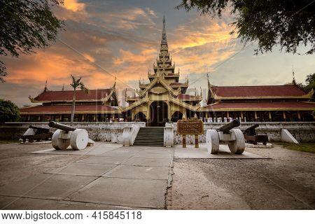 Mandalay, Manmar. July 24, 2019: The Mandalay Royal Palace Of The Last Burmese Monarchy. Is A Primar