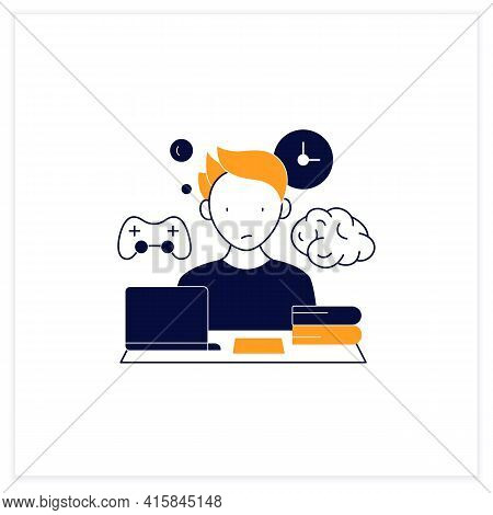 Brain Procrastination Flat Icon.tired Person. Need Breaks.too Many Tasks. Overload Concept. Vector I