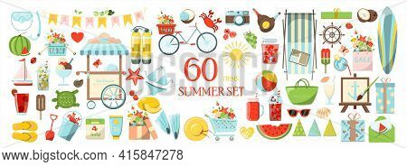 A Big Vector Summer Set. Accessories For Beach Holidays By The Sea. Flat Design Illustration For Ads