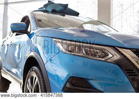 Russia, Izhevsk - February 19, 2021: Nissan Showroom. New Modern Qashqai Car In Dealer Showroom. Cro