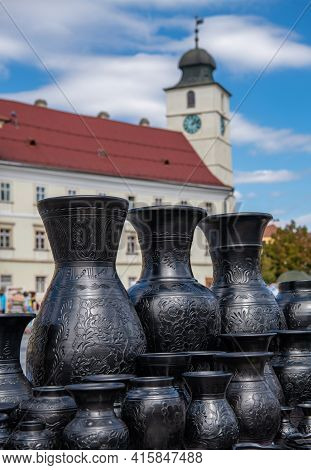 Black Ceramic Vessels At The Potters Fair In Large Square Sibiu, Romania, Europe