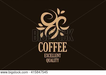 Vector Logo With Coffee Beans Drawn On A Dark Background