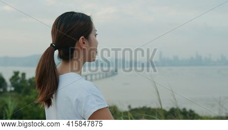 Woman look at the scenery view at mountain