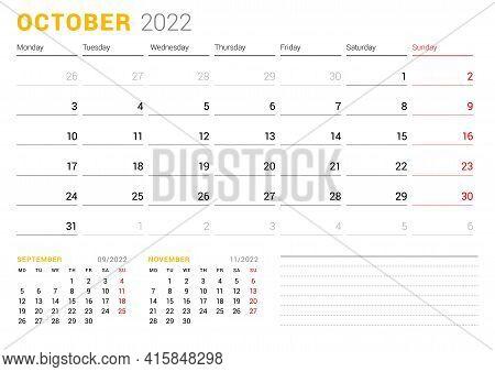 Calendar Template For October 2022. Business Monthly Planner. Stationery Design. Week Starts On Mond