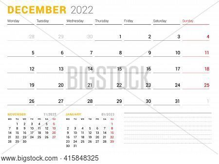 Calendar Template For December 2022. Business Monthly Planner. Stationery Design. Week Starts On Mon