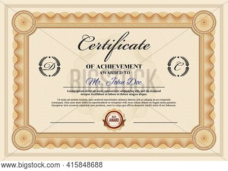 Business Achievement Certificate Vector Template. Personal Award, Graduation Certificate Or Qualific
