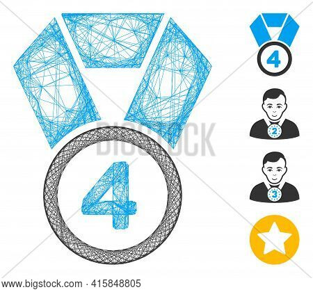 Vector Net 4th Place Medal. Geometric Wire Frame 2d Net Made From 4th Place Medal Icon, Designed Fro