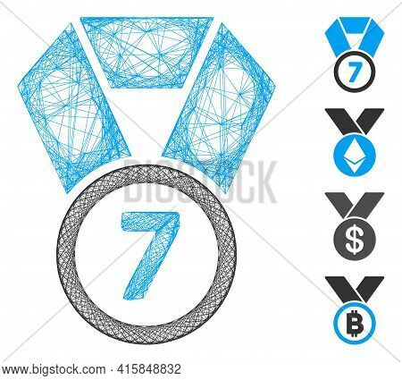 Vector Wire Frame 7th Place Medal. Geometric Wire Frame Flat Net Made From 7th Place Medal Icon, Des